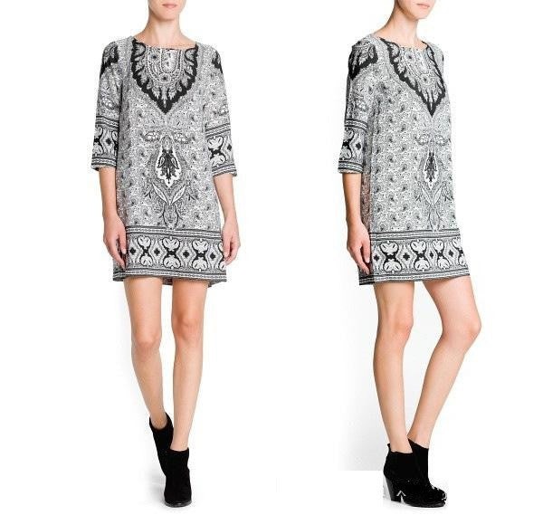 New Arrival ! Ladies slim 5 points sleeve Short Bottoming Paisley floral print Dress