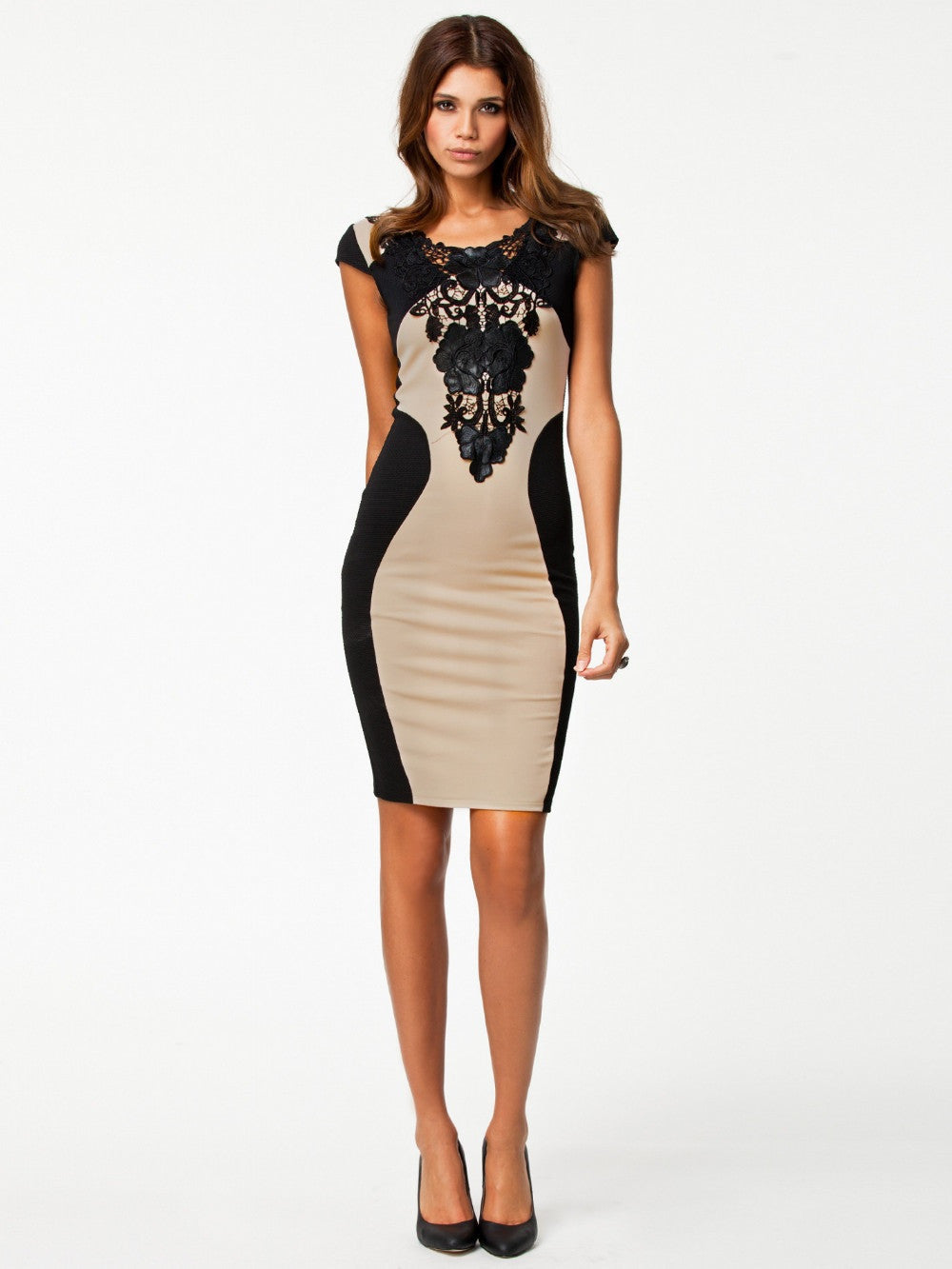 """Chic Series"" Embroidery Patchwork Sexy Slim Dress"