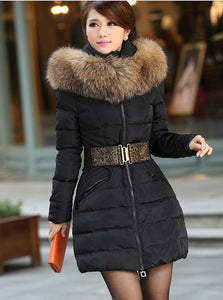 Vlsivery Large Raccoon Fur Thick Medium-long Winter Coat Premium Quality