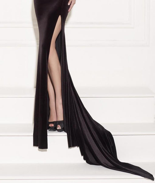 Backless Black Long Formal Evening Gown Slit Mermaid Sleeveless  Beautiful Prom Dresses