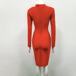 Bandage Long Sleeve Her Fashion VNeck Sexy Bodycon Party Womens Dress