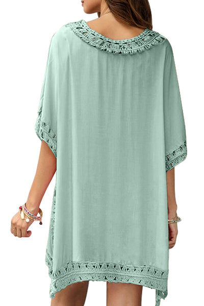 Beach Dress Her Fashion Green Crochet Trimming Overlay Beach Cover up