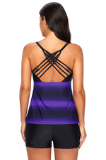 Beach Trendy Purple Her Fashion Strappy Back Tankini Swimwear