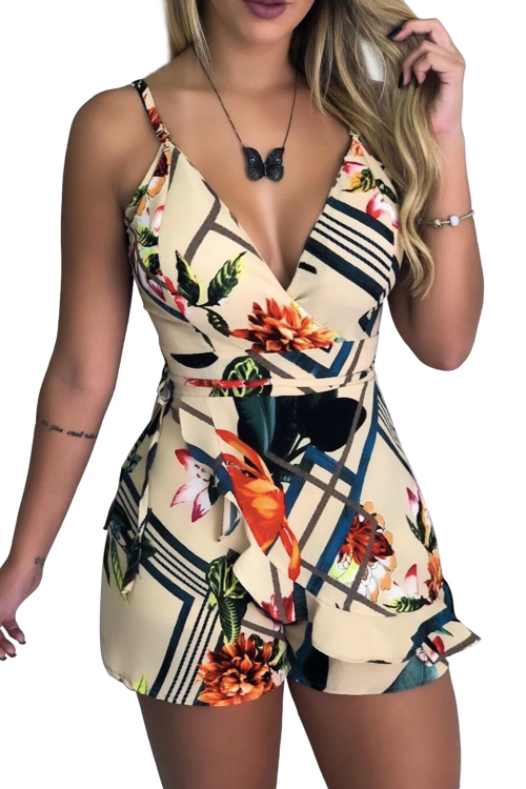 Glam Rompers V Neck Spaghetti Straps Floral Print HHF Playsuit