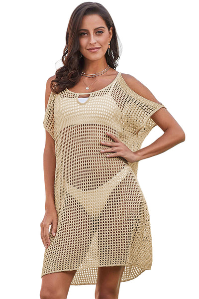 Beige Slit Shoulder Her Fashion Fishnet Crochet Beach Cover Up