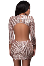 Beige Sequin Detail Open Back Party Her Fashion Mini Dress