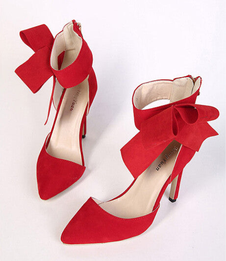 Big Bow Tie Pumps  Butterfly Pointed Stiletto Women High Heels  Shoes Dress Wedding Shoes
