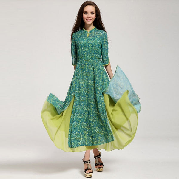 Big Hem Trendy Series  Print Slim Fit Women Chiffon Dress