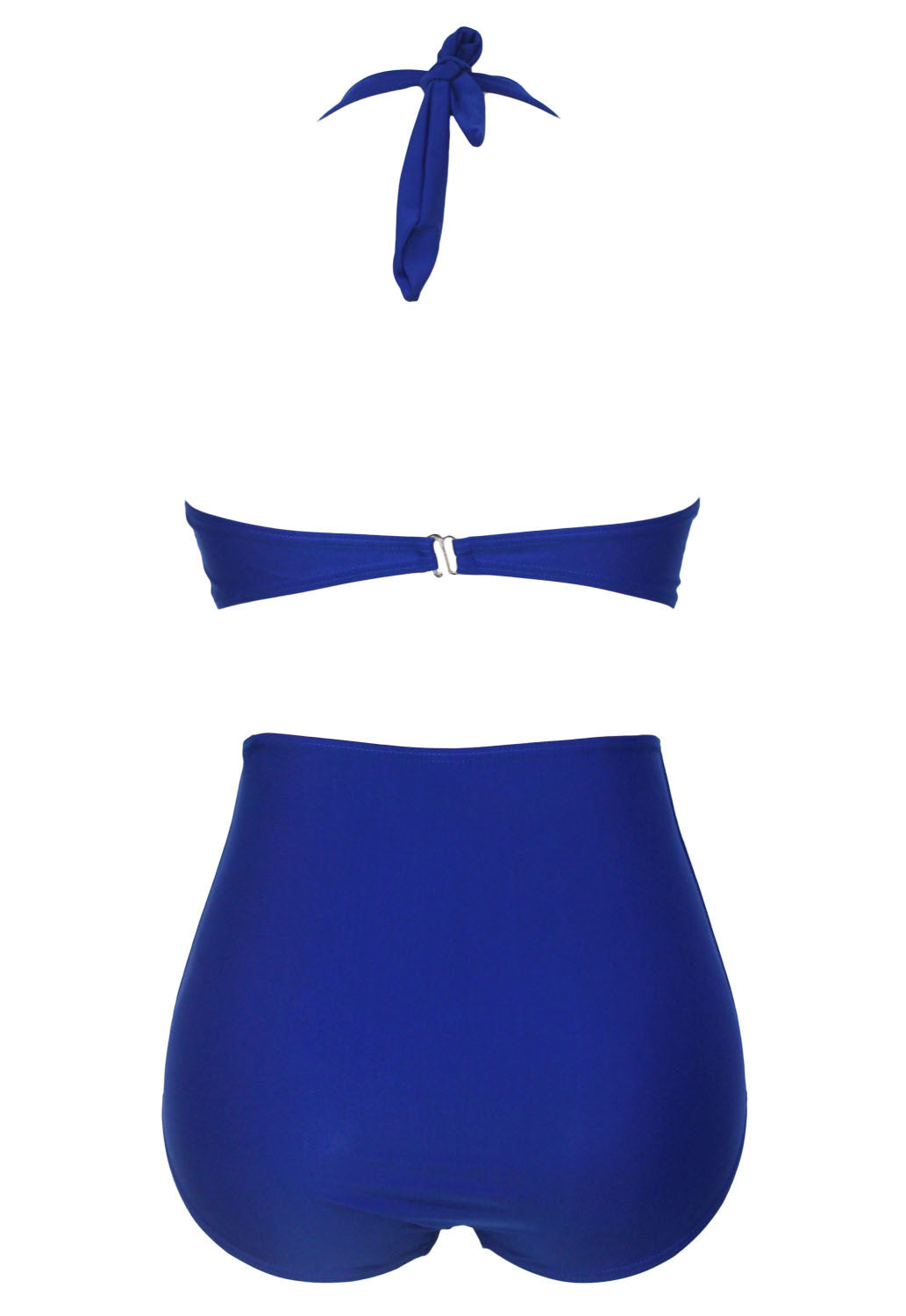Big'n'Bold Solid Blue High-Waisted Halter Bikini Swimsuit