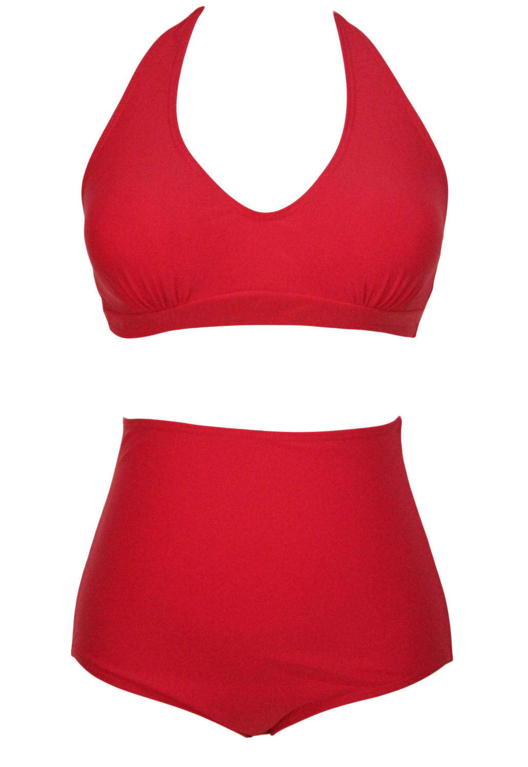 Big'n'Bold Solid Red High-Waisted Halter Bikini Swimsuit