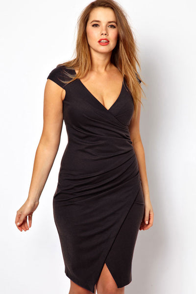 Big'n'Trendy Black Ruched Wrap Plus Size Midi Dress