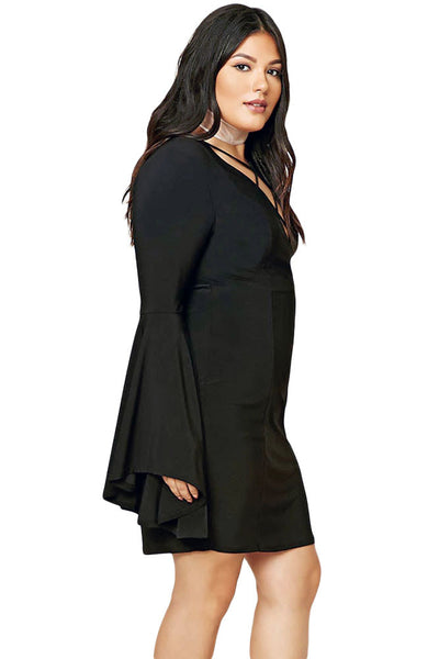 b37743f5fe8 Big'n'Trendy Black Plus Size Caged Flare Long Flare Sleeves Dress ...