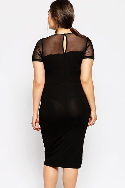 Big'n'Trendy Curve Body-conscious Asymmetric Color Block Plus Size Dress