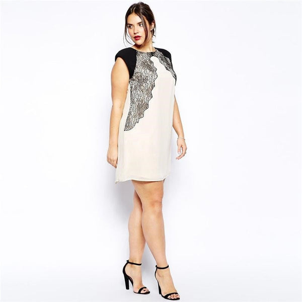 """BignBeautiful Series"" Lace Patchwork Sleeveless Mini Length Slim Fit Dress"