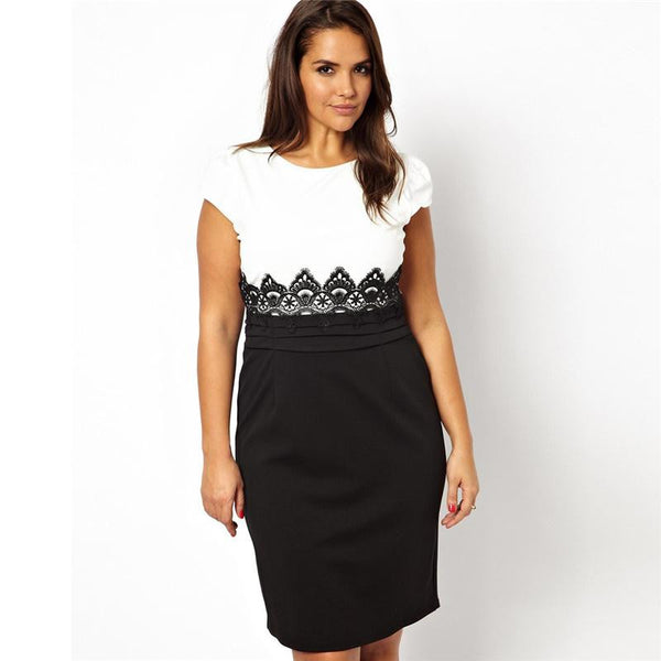 """BignBeautiful Series""  Short Sleeve Black and White Fabric Patchwork With Lace Dress"