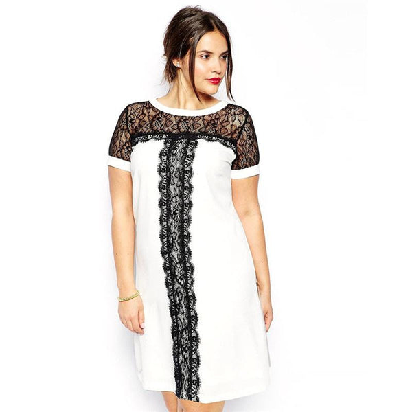 """BignTrendy Series"" Short Sleeves Patchwork Design With Lace Decorations Knee Length Dress"