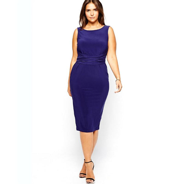 BignBeautiful Series Sleeveless Crew Neck Backless Design Dress