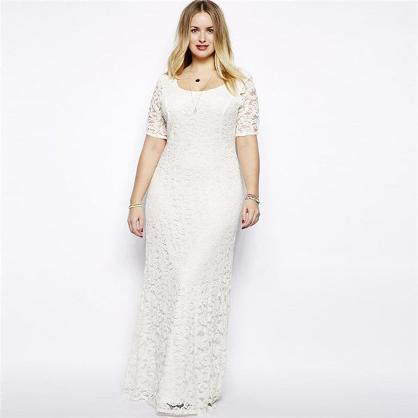 BignTrendy Crew Neck Short Sleeves White Lace Dress