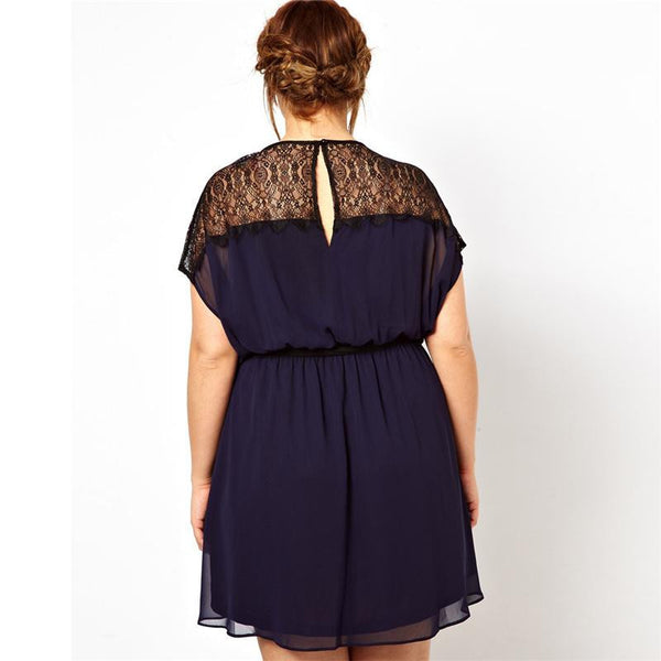 """BignMod Series"" A Line Chiffon Mid Waist Crew Neck Short Sleeves Knee Length Lace Dress"