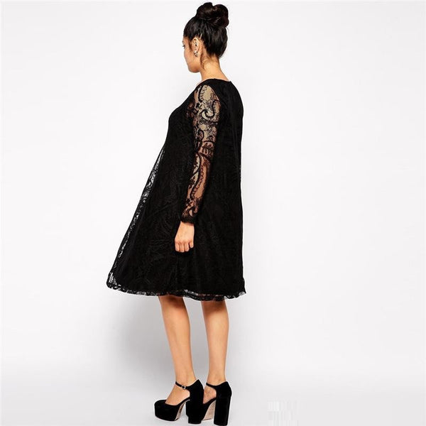 """Mod Series"" Long Sleeves V-Neck Loose Waist Knee Length Lace Party Dress"