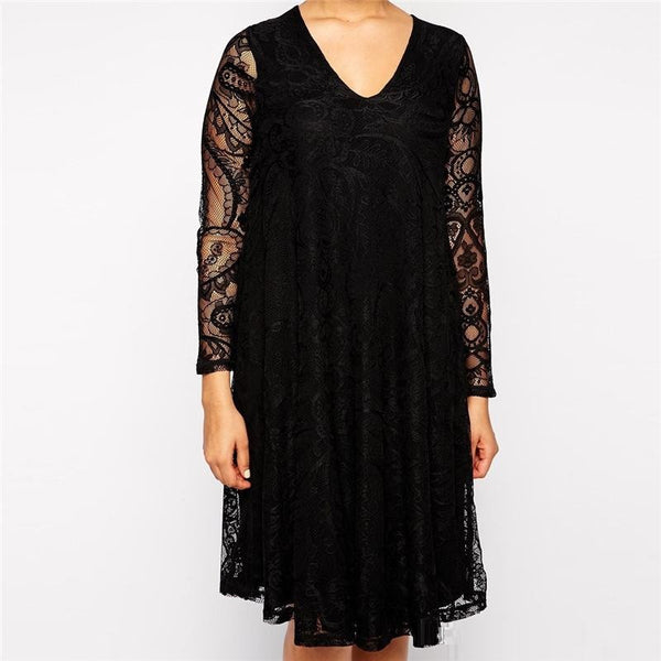 """BignMod Series"" Long Sleeves V-Neck Loose Waist Knee Length Lace Party Dress"