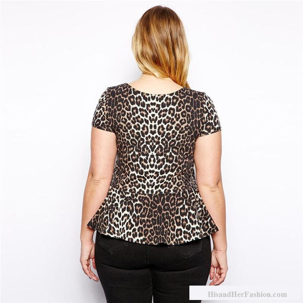"""BignMod Series"" Short Sleeve Leopard T Shirt Crew Neck Fit Design"