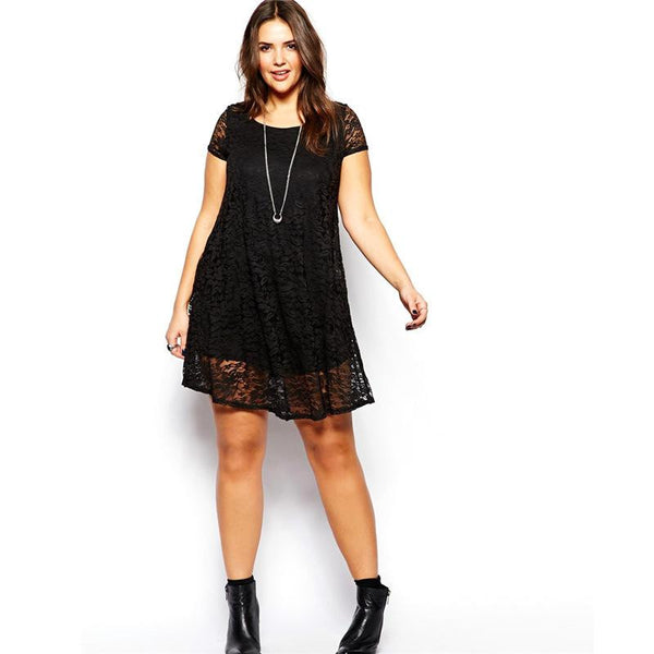 """BignMod Series"" Short Sleeves Crew Neck Cotton Blend Lace Dress"