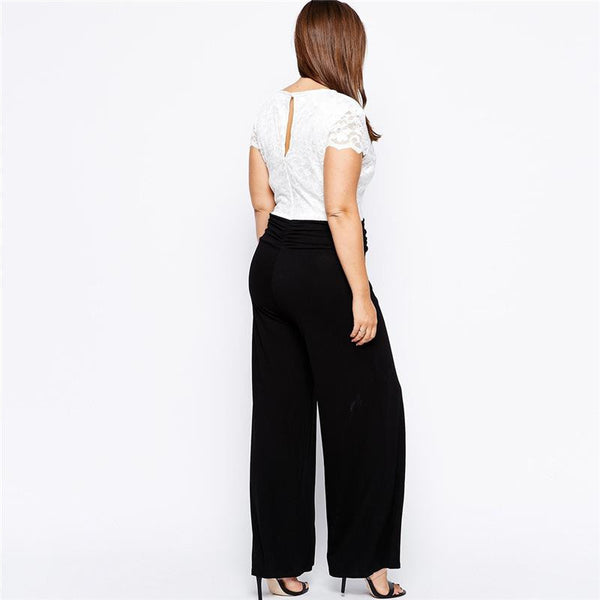 """BignMod Series""  V Neck Short Sleeves Long Pants Jumpsuit Romper"