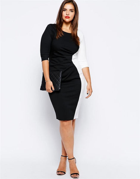 """BignTrendy Series"" Black And White 3/4 Sleeves Fitted Cut Dress"