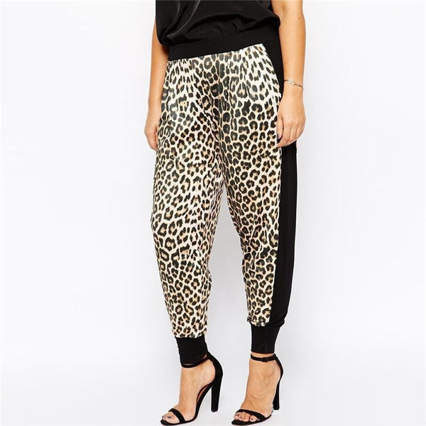 """Trendy Series""   Leopard Mid Waist Patchwork Long Pants"
