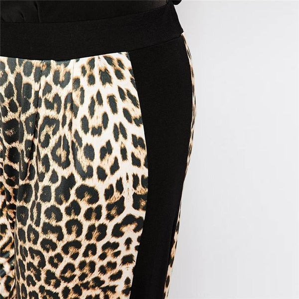 """BignTrendy Series""   Leopard Mid Waist Patchwork Long Pants"