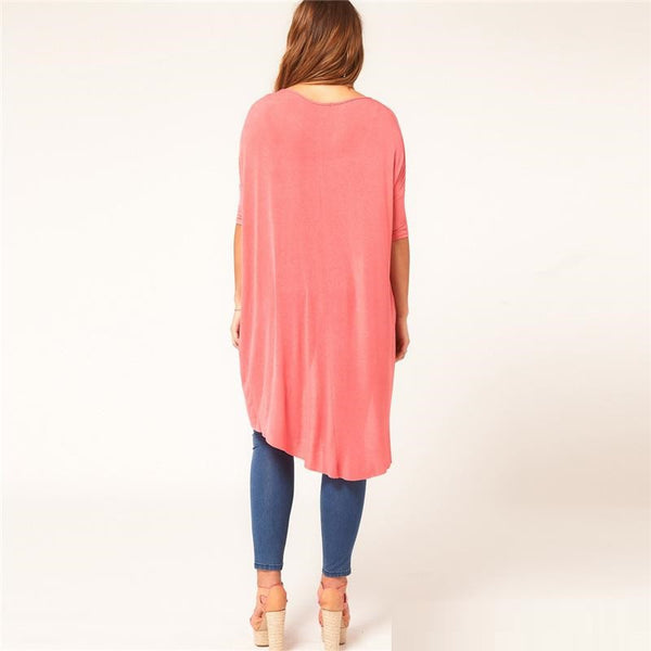 """BignTrendy Series""  Long Knit Solid Color Crew Neck Top"
