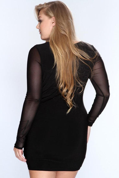 BignTrendy Long Sleeve Slim Bodycon Party Cocktail Mini Dress