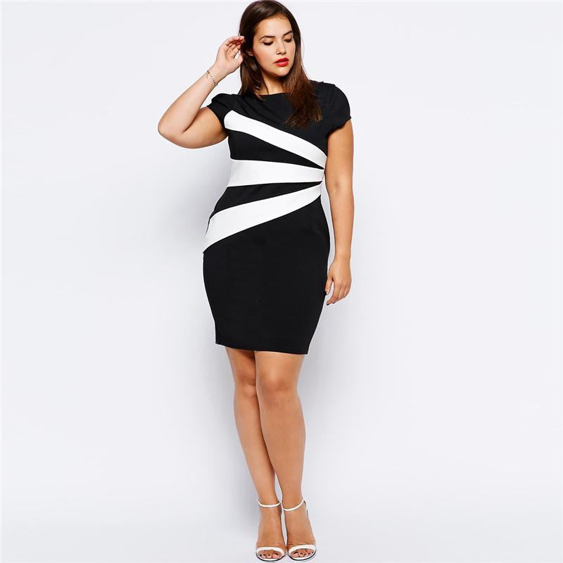 """BignTrendy Series"" Short Sleeves Contrast Color Crew Neck Bodycon Knee Length D"