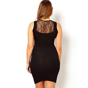 """BignTrendy Series""  Sleeveless Lace Design High Waist Slim Fit Dress"