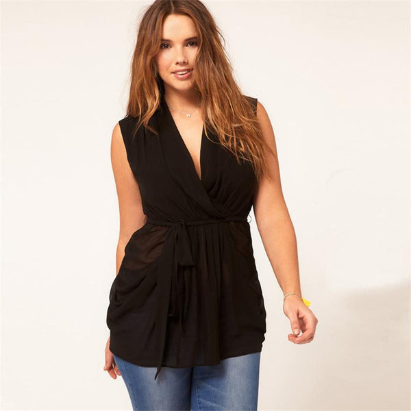 """BignTrendy Series"" V-Neck  Chiffon Sleeveless Camis blouse"