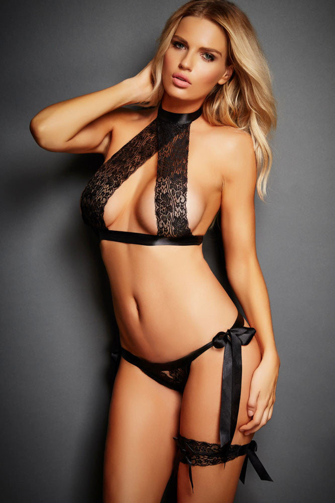 Black 3pcs Satin Tie Lace Sexy Lingerie Set