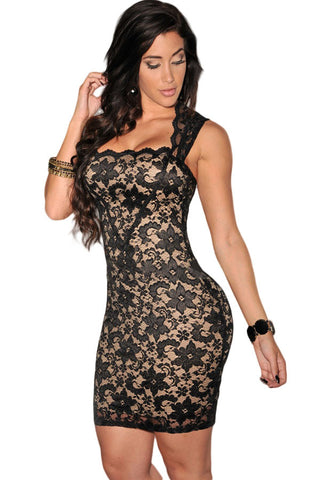 Alluring Illusion Look Lace Short Sleeves Women Black Dress