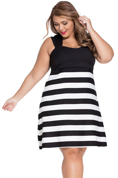 Black And White Block Stripe Big 'n' Trendy Her Skater Dress