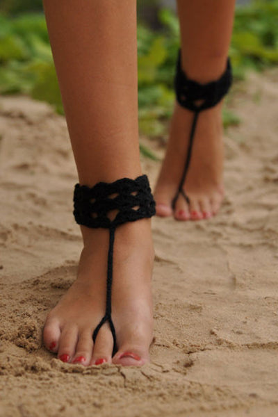 Black Anklet Crochet Assorted Colors Barefoot Sandals