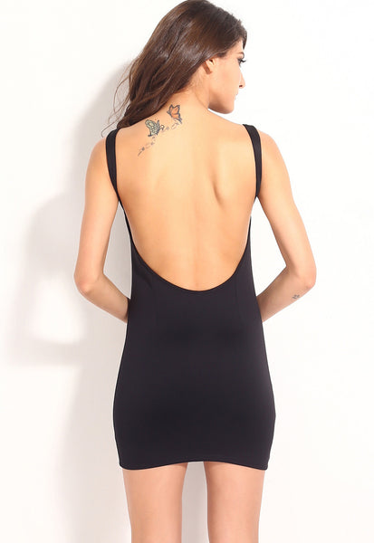 Black Bare Back Sexy Party HerFashion Mini Dress