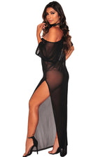 Black Beach Dress Sheer Mesh Drop Shoulder Cover Up Dress