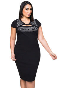 Black Big'n'Trendy Cutout Foil Print Bodycon Plus Size Dress