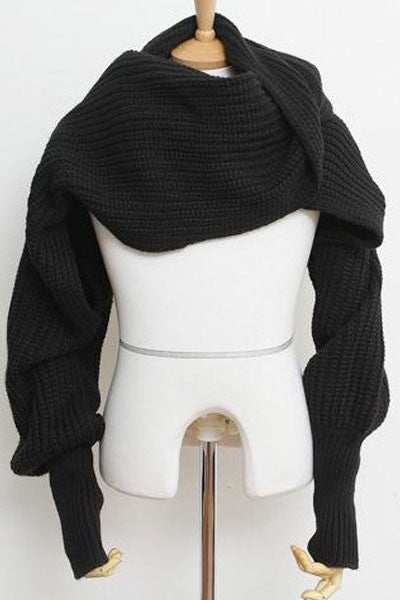 Black Cozy Knit Loose scarf neck warmer or shawl  with Sleeves