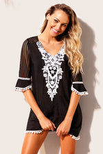 Black Crochet Pom Pom Trim Her Fashion Beach Tunic Cover up