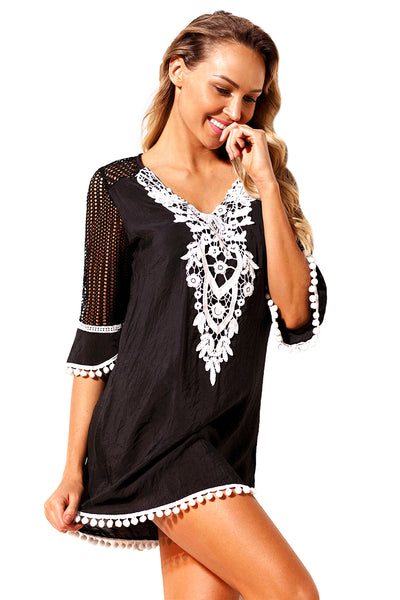 Blue Crochet Pom Pom Trim Her Fashion Beach Tunic Cover up