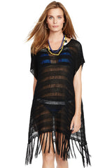 Black Crochet Poncho Beach Cover Up