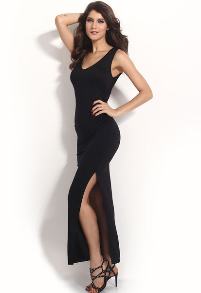 Black Cut-Out Back Party-Ready Jersey Maxi Dress