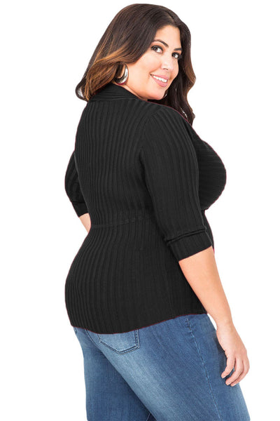 "Black Deep V Fitted Ribbed Knit Plus Size Top ""LIMITED EDITION"""