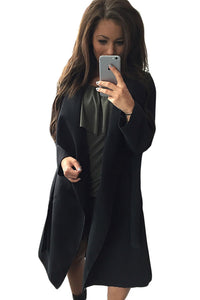 Black Drape-Front Turn Down Collar Long Sleeve Trench Coat